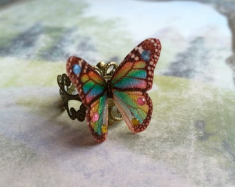 Beautiful 3D Rainbow Butterfly Ring