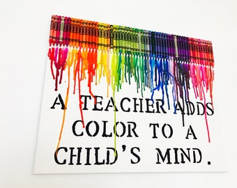 Teacher Gift - Melted Crayon Art - Teacher Appreciation Gift