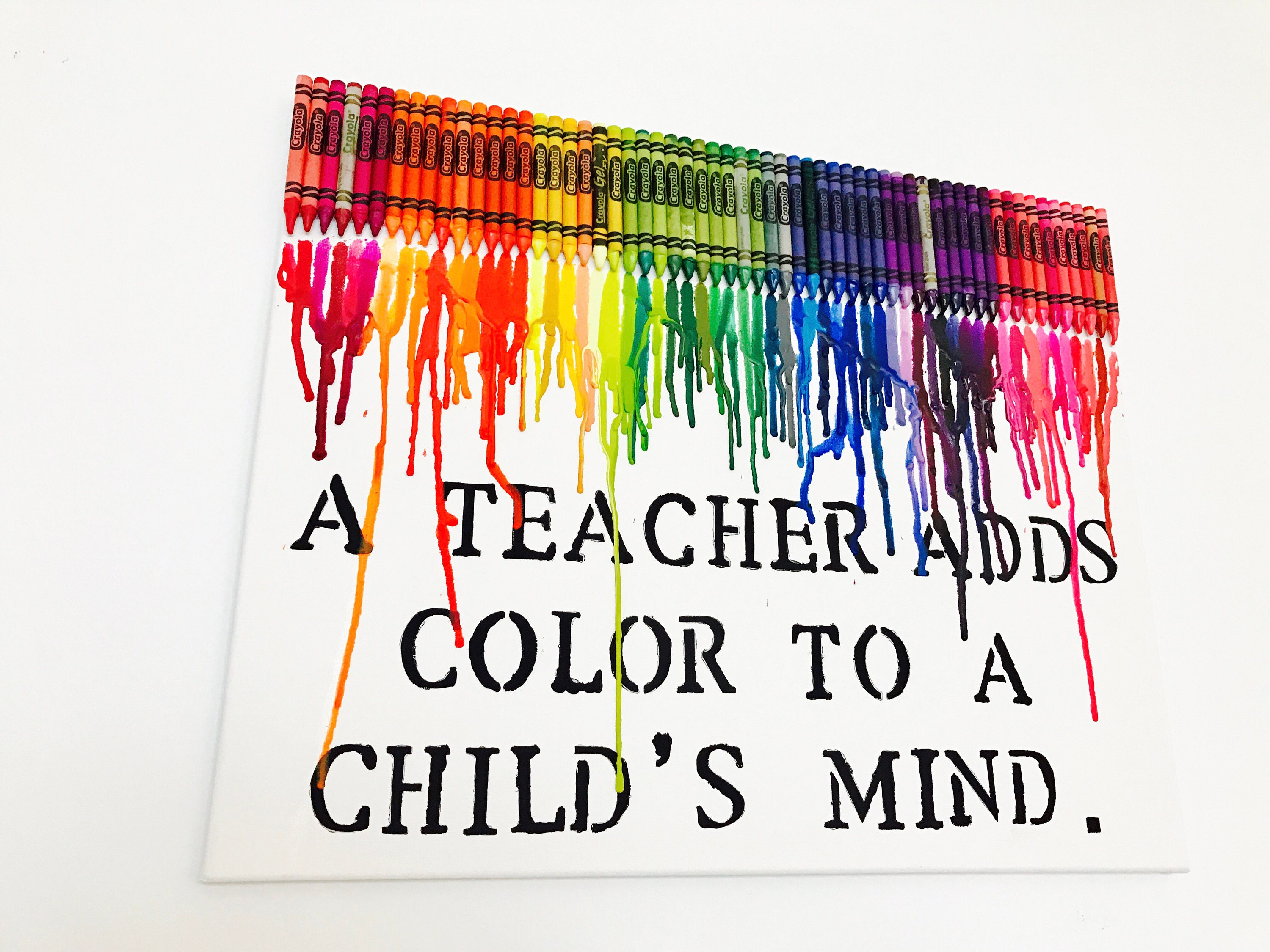 color crayon art : Teacher Gift Melted Crayon Art Teacher Appreciation Gift
