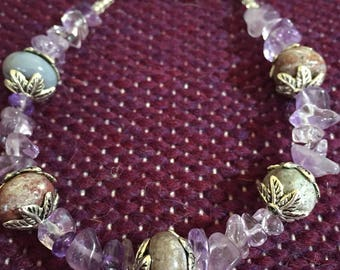 Amethyst and purple Jasper beaded bracelet