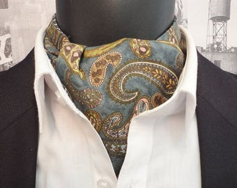 Paisley cravat, paisley ascot, cravats for men, paisley design on a grey/green background, reversible cravat