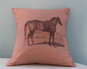 Thoroughbred Horse Pillow Jacket in Soft Pink