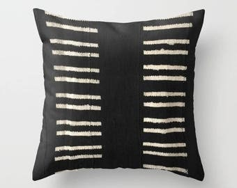 Authentic Mudcloth Pillow, Warm Black Ground with Cream/Beige/Tan Double Lines