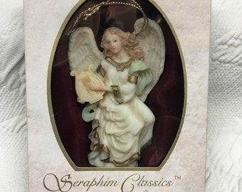 "Seraphim Classics, Cymbeline, ""Peacemaker"", Roman Inc, Angel Ornament, 1994, Cymbeline Angel, Seraphim Ornament, Angel with Lute Mandolin"