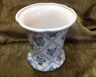 "Lavender Blue Floral Cache Pot Vase with Lattice Design, 7"" Porcelain Vase, Floral Cache Pot, Lg Flower Vase or Pot, Scalloped Rim, China"