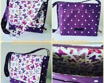 Butterfly/Spotty Handmade Messenger Bag