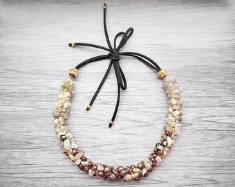 Aunt gift for mom gift necklace Gemstone necklace Labradorite necklace Garnet Necklaces Handmade necklace Bohemian necklace Bead necklace