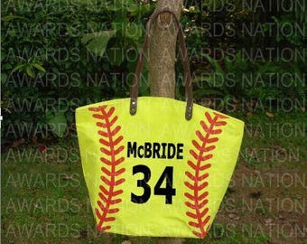 Personalized Canvas Softball Tote