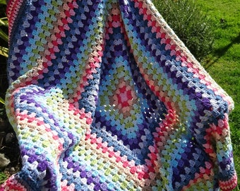 Multicolour Crochet Granny Square Cotton Picnic Festival Blanket, Rainbow, Afghan, Throw - READY TO SHIP
