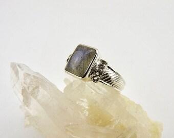Labradorite ring. Sterling silver. Ring. Gemstone rings. Labradorite. CZ. Modern. Jewelry. Designer. Blue flash labradorite. Gemstone ring