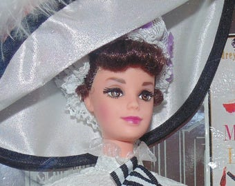 1995 Barbie Doll Audrey Hepburn as Eliza Doolittle in My Fair Lady in Ascot White Ribbons & Lace Gown MIB NRFB Collector Edition Movie Star