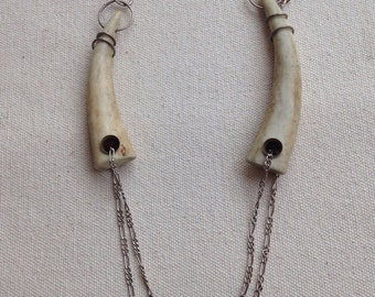 Double Antler Tip Necklace with  Double Chains