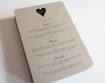 Rustic Love Heart Wedding Menu
