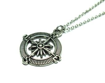 Men's compass Necklace - Men's Silver Necklace - Mens Necklace - Mens Jewelry - Necklaces For Men - Jewelry For Men - Men's Gift