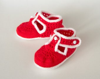 Red Handmade Crochet Baby Girl Booties (9-12 mo)