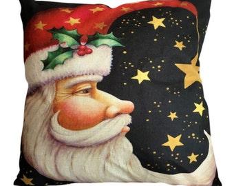 Vintage Santa Against The Stars - Pillow Cover