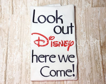 Look out Disney here we come embroidered shirt, Disney Vacation shirts, Boys Disney shirt.