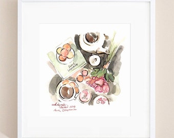Ladurée Macarons - Watercolor painting, French macarons, wall decor kitchen, Paris macarons, macarons print, macarons poster, macaron paris