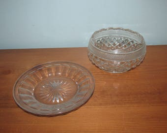 Vintage Glass Bowl and Saucer Pressed Glass
