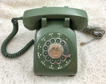 Vintage Green Working Rotary Dial Desk Phone Retro Green Rotary Dial Table Phone Mid Century Office Phone Photo Movie Prop