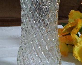 CFG  Diamond Patterned Clear Glass Vase