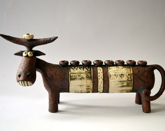 cow - menorah goat - ceramic cow - brown cow - judaika - Hanukkah - Israeli art - ceramic sculpture -  animals