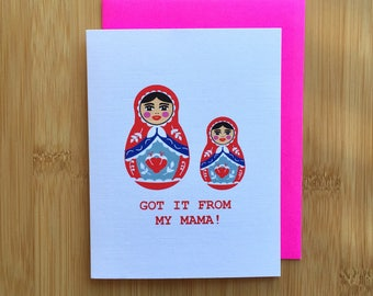 Russian Doll Mothers Day Card - Handmade Hip Hop Babushka Card with Foiled Lettering