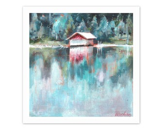 fine art print. lake painting, lake side , wanderlust art, landscape painting, print from original, acrylic painting, small painting