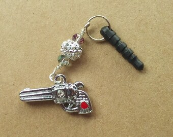 Cellphone dust plug with revolver charm and beads, gun charm with crystal, smartphone jewelry, earphone jack charm, audio jack charm