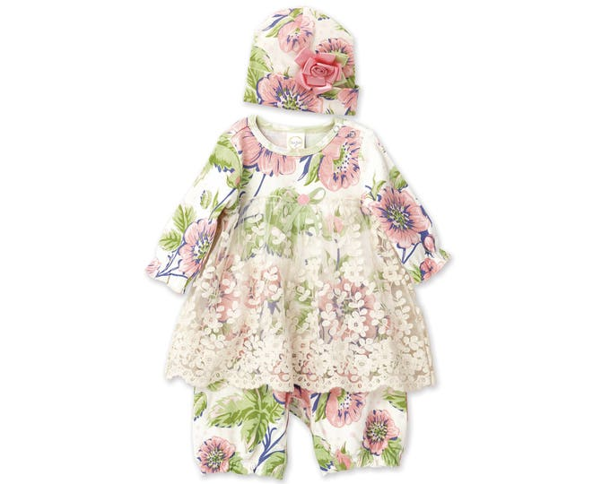 Baby Girl Coming Home Outfit Summer, Newborn Girl Lace Outfit, Infant Girl Take Home Lace Dress, Floral Romper Set, TesaBabe RC54LRGPF0000