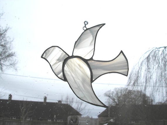 Stained glass dove suncatcher white dove dove of peace holy like this item negle Image collections