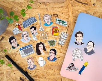 Seinfeld Stickers & Magnets // vinyl stickers, fridge magnets, larry david, george costanza
