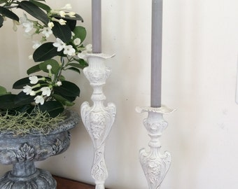Tall Vintage Candleholders, French Country Candlesticks, Table Centerpiece, Wedding Gift, Cottage Chic Home Decor