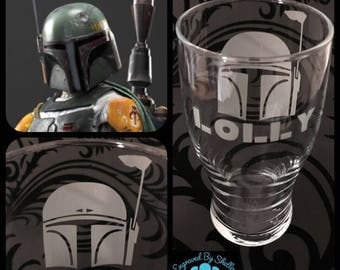 Personalised Boba Fett Glass With Free Name Engraved. Totally Unique Gift For Any Star Wars Fan!