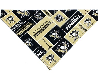Pittsburgh Penguins inspired Dog Bandana, Dog Scarf, no tie bandana, slip on bandana, pet bandana, doggy scarf , scarf for dogs