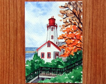 SALE!ACEO Original Watercolor Painting-Kincardine Lighthouse in Autumn,Ontario/Canada