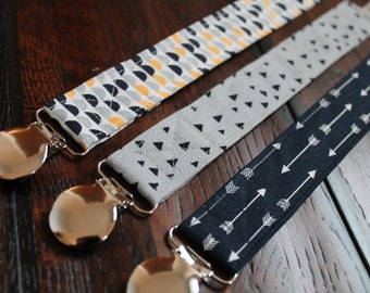 Set of 2 or 3 Modern Baby Boy Pacifier Clips, You Choose, Ready to Ship