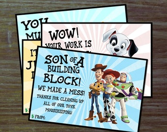 DIY Mousekeeping Envelopes { or 5x7 notes } DIY Mousekeeping Disney Vacation Tips Cards Notes All Star Movies Resort Toy Story Fantasia 101