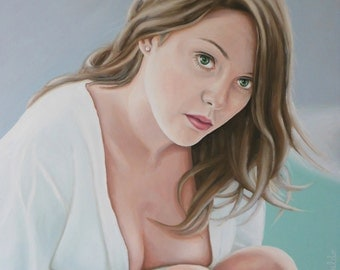 Painting of a lovely girl-portrait of a woman oil painting 55 x 51 cm