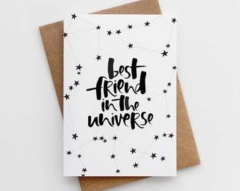 Best Friend Card – Card for Best Friend – Best Friend Birthday – Best Friend in the Universe Card – Card for Bestie – BFF Card