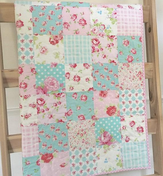 Roses Baby Quilt Pink-blue-teal-aqua Floral Crib Bedding