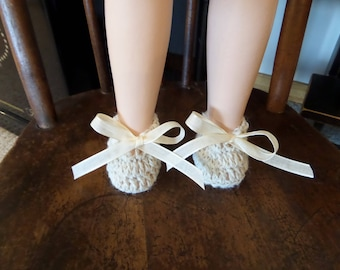 Doll Booties Hand Crocheted Mohair