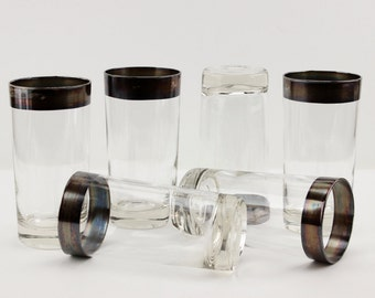 Mid Century Silver Band Highball Tumblers Dorothy Thorpe Style