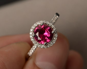 Halo Ring Ruby Gemstone Rings Round Cut Ruby Engagement Rings for Girl Promise Rings Sterling Silver 925