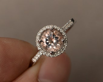 Morganite Rings Engagement Ring Pink Gemstone Ring Halo Rings Round Cut Sterling Silver 925