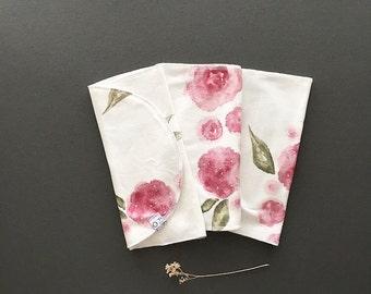 Organic Baby Reversible Burp Cloth- Watercolor Floral