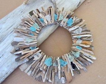 "16"" Driftwood Wreath with Sea Glass - Turquoise and Aqua Sea Glass Accents -  Driftwood Wall Art - Beach House Decor - Maine Beach Decor"