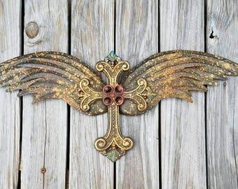 Metal Angel Wings Wall Decor metal angel wings | etsy