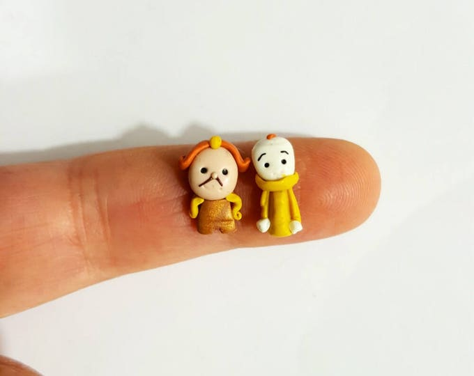 Cogsworth and Lumiere disney inspired stud earrings. Belle earrings. Disney earrings. Beauty and Beast jewelry.Disney jewelry.Beauty jewels.