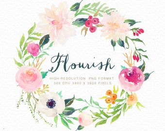 Watercolor flower wreath-FLOURISH /Individual PNG files / Hand Painted